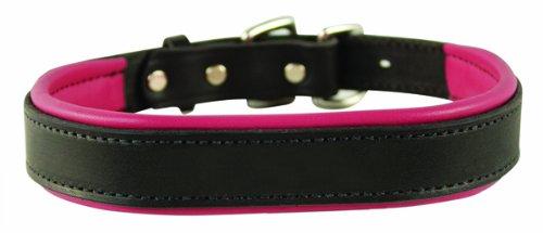 collar perri 's color rosado con negro de cuero acolchado para perro